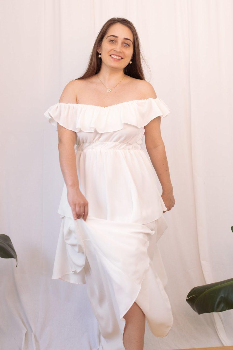 Vestido babados branco