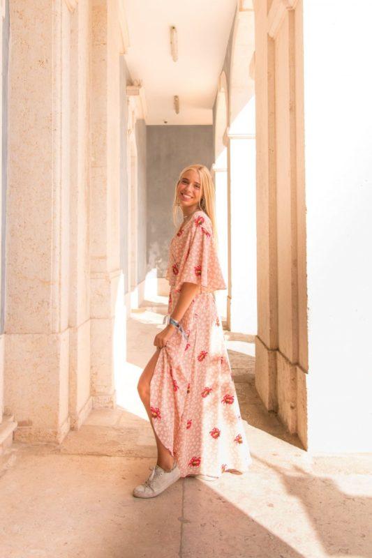 Vestido transpassado rosa