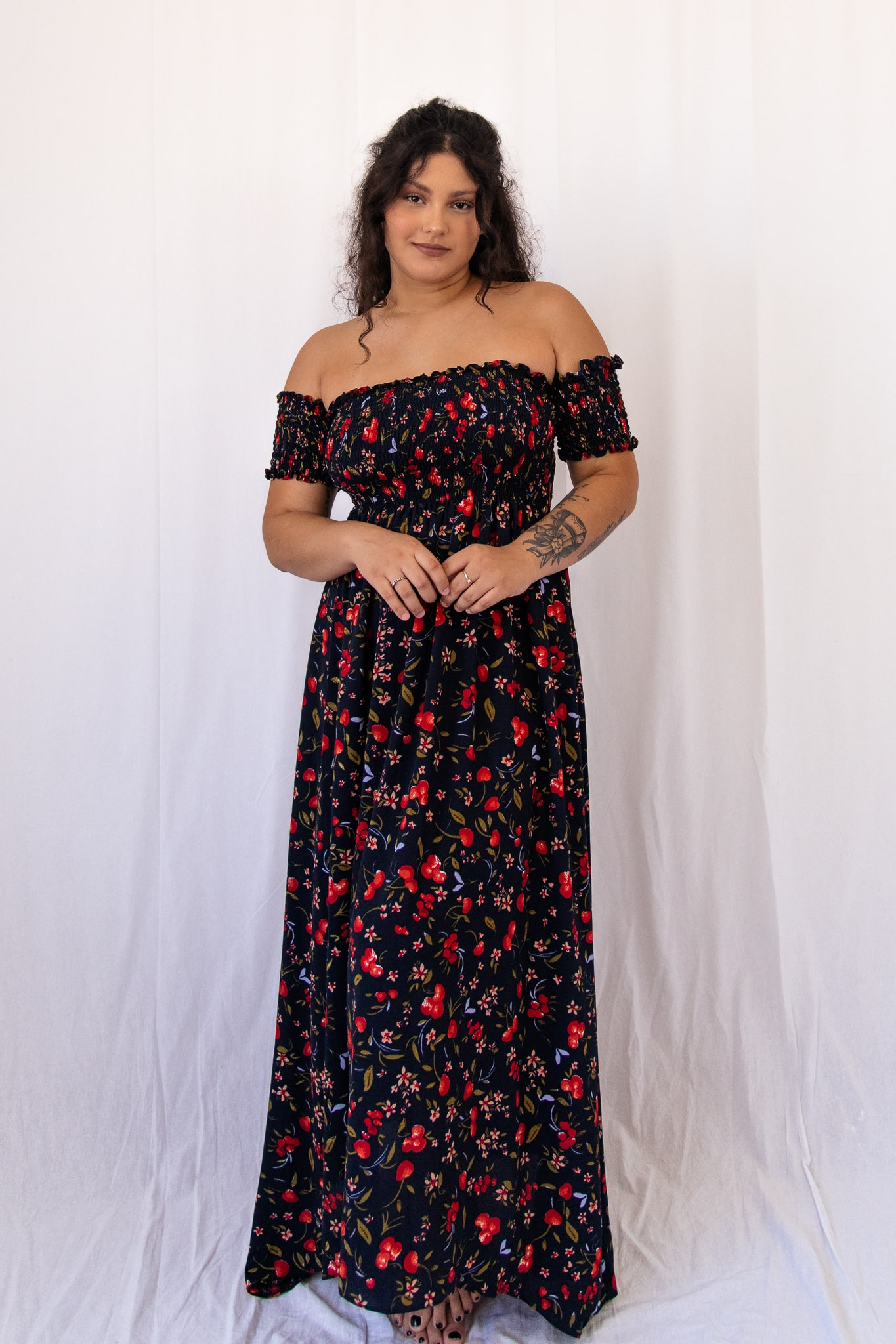 Vestido longo lastex ciganinha