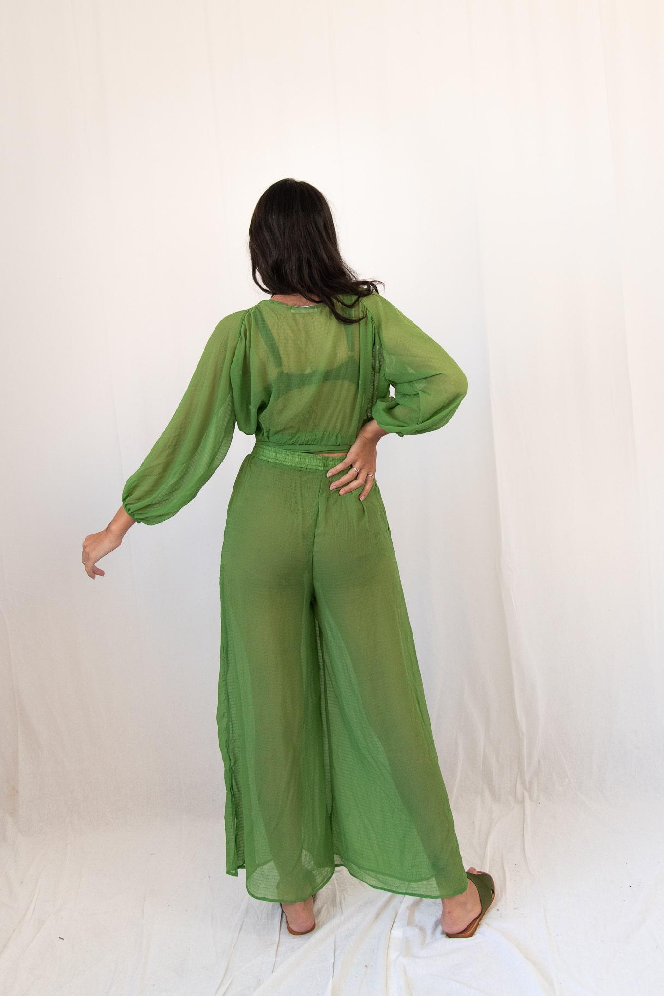 Calça transparente verde