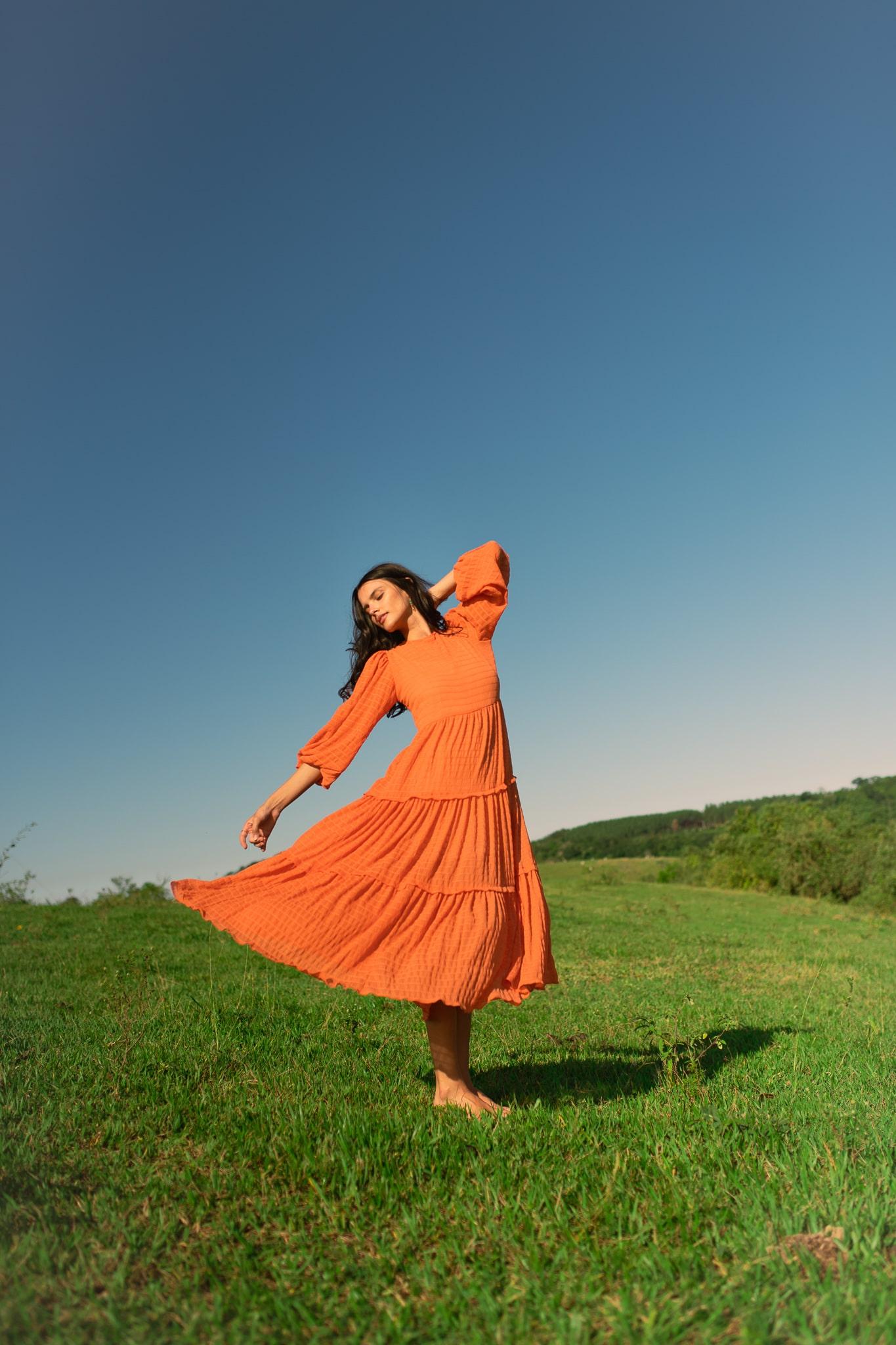 Vestido longo Hera Laranja