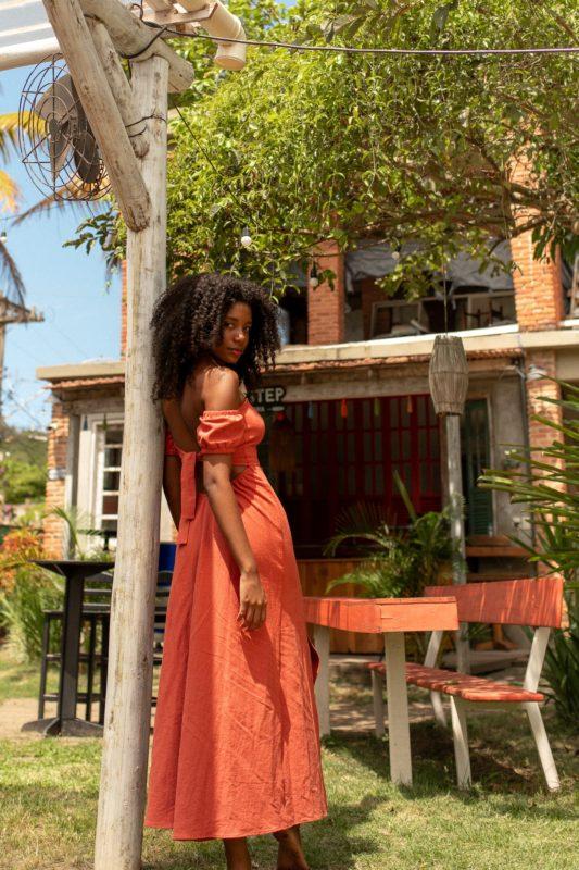 Vestido corselett laranja