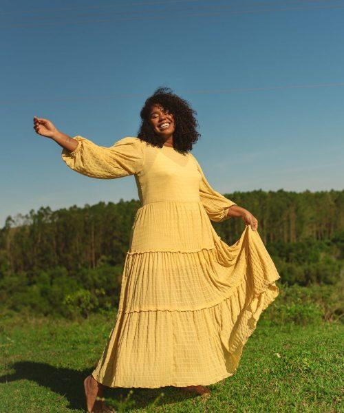 Vestido longo Hera amarelo
